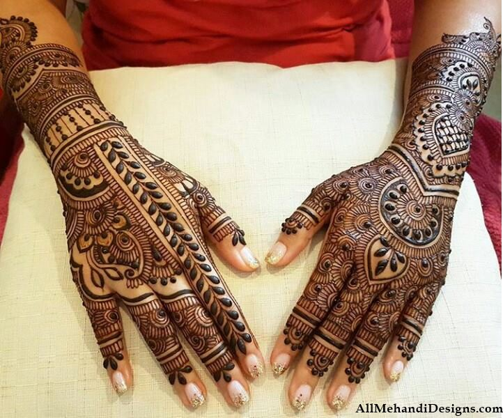 Mehndi Design For Bridal Collection : Easy semi bridal full hand mehndi henna design collection