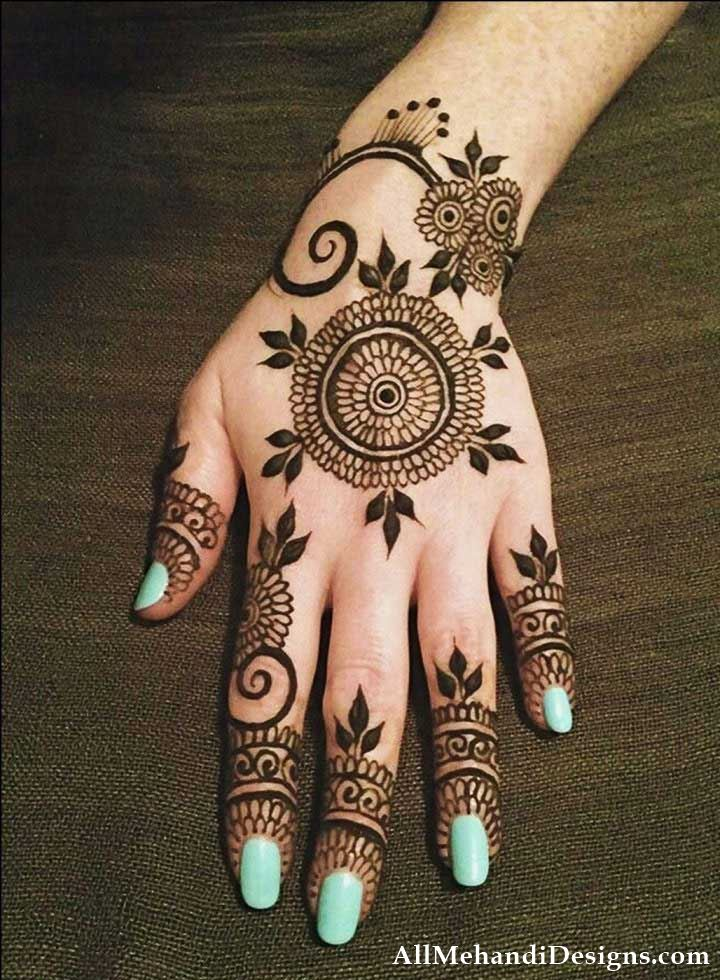 Best Mehndi Flower : Easy mehndi design simple mehandi desings images