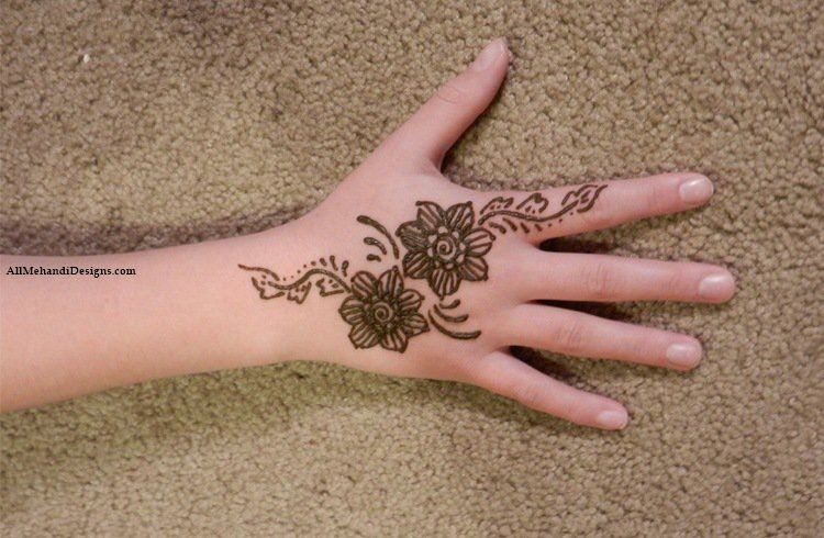 Flower Mehndi Designs For Back Hands : Cute mehndi designs for kids beautiful henna pattern