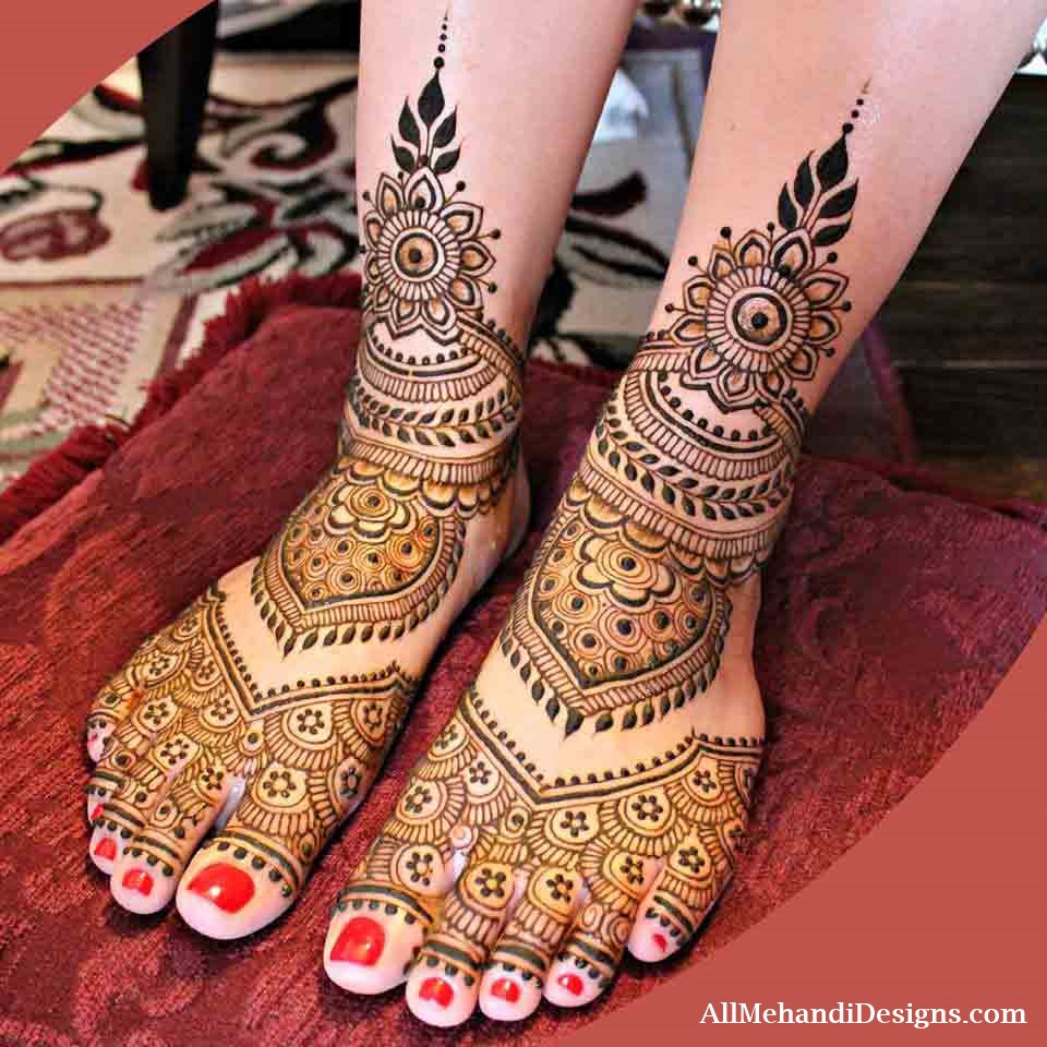 simple leg mehndi designs for bride